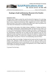 Kashf ush-Shubuhaat - The Removal of the Doubts (The First Study)