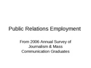 2006 survey on Public Relations Employment