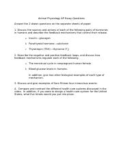 Animal Physiology AP Essay Questions Version 3.docx