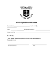 Honor System Cover Sheet