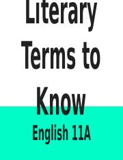 English 11A Literary Terms to Know