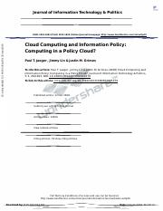 Cloud Computing and Information Policy Computing in a Policy Cloud(2)