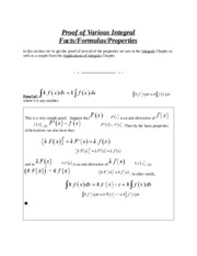 Proof of Various Integral Facts