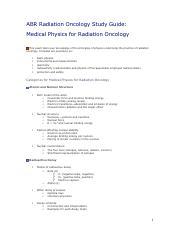 ABR Study Guide - Physics pdf - ABR Radiation Oncology Study
