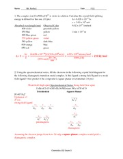Exam 3 Solution Fall 2013 on General Chemistry