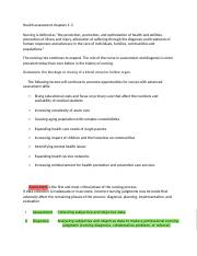 Health assessment chapters 1-3,15-18 notes