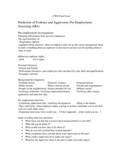 Final review sheet Workplace Agression