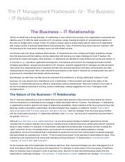 The IT Management Framework- IV - The Business – IT Relationship_ Technology Management & Digital In