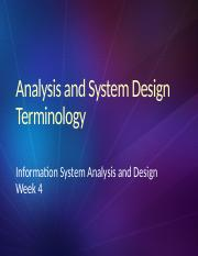 week 3 Analysis and System Design Terminology new
