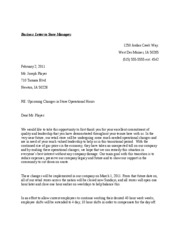 Business Letter to Store Managers