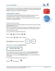 FSMA Laws of probability student