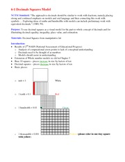 Lecture Notes on Decimals Squares Model