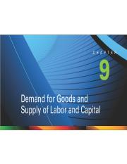 Chapter 9-Demand For Goods and Supply of Labor and Capital