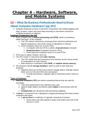BCIS 3610 - Basic Information Systems - Textbook Chapter 4 - Hardware, Software, and Mobile Systems