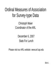 Ordinal Measures of Association for Survey-type Data