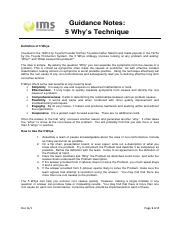 Doc 6i issue 1 guidance notes on 5 Whys Technique