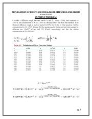 APPLICATION OF FICK_S SECOND LAW OF DIFFUSION AND ERROR FUNCTION