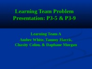 Learning Team Problem Presentation
