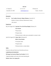 BUSI 1200 Resume Example