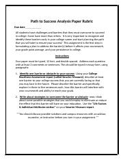 Path to success analysis paper rubric.docx