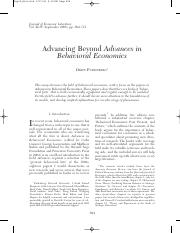 Fudenberg_2006_Advancing Beyond Advances in Behavioral Economics