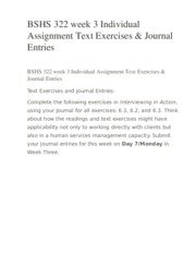 BSHS 322 week 3 Individual Assignment Text Exercises & Journal Entries