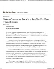 Stolen Consumer Data Is a Smaller Problem Than It Seems - The New York Times