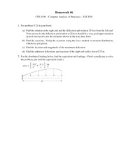 Homework on Computer Analysis of Structures