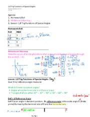 1.8 Trig Functions of Special Angles