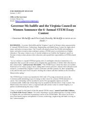 State Essay contest for STEM for female students