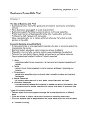 Business Essentials Chapter 1 Notes