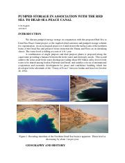 Pumped Storage in Association with the Red Sea to Dead Sea Peace Canal