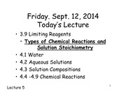 Chemistry 121 Lecture Limiting Reagents and Water
