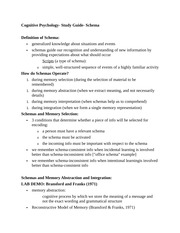 Cognitive Psychology- Study Guide- Schema