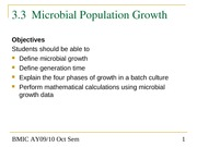 Topic 3.3 Cultivation and Growth of Microorganisms - Microbial Population Growth