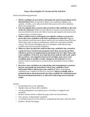 Project Sheet Argument Paper English 151.docx