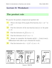 Math1a Spring 2014 Lecture 9 Worksheet