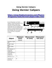 Using Vernier Calipers - Experimental Skill and Investigation.doc