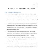 US History 101 Final Exam Study Guide