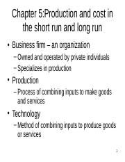 production and cost in the short run and long run(1)