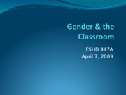 Gender & the Classroom