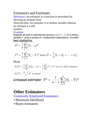 Estimators and Estimates
