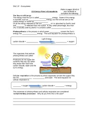 Lesson 2 - Photosynthesis and cellular respiration note