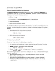 Chpt 4 - Chemical Reaction and Equations - Study Notes
