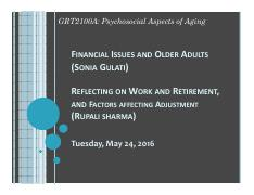 LECTURE 8 - PRES - Financial Issues and Retirement