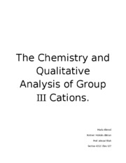 chm lab analysis of group 3 cations