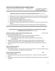 Resume example - Hotel and Food Administration