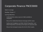 Fin Corp Week 5 Lecture_Debt policy