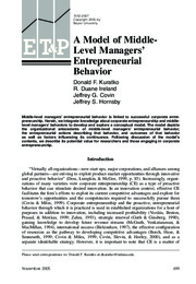 A model of middle-level managers entrepreneurial behavior