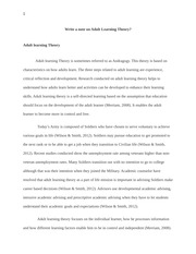 Write a note on Adult Learning Theory